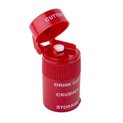 Ezy Dose Pill Crusher and Grinder | Crushes Pills, Vitamins, Tablets | Stainless Steel Blade | Removable Drinking Cup | Red