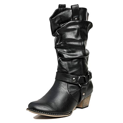 Refresh Women Wild-02 Western Style Cowboy Boots, Black, Size 8.5