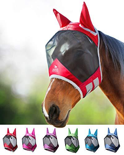 Harrison Howard CareMaster Pro Luminous Horse Fly Mask Standard with Ears Ruby (M; Cob)