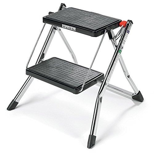 "Polder 90401-05 Mini 2-Step Stool, 17"" High, 225 lb. (102 kg.) Capacity, Chrome"